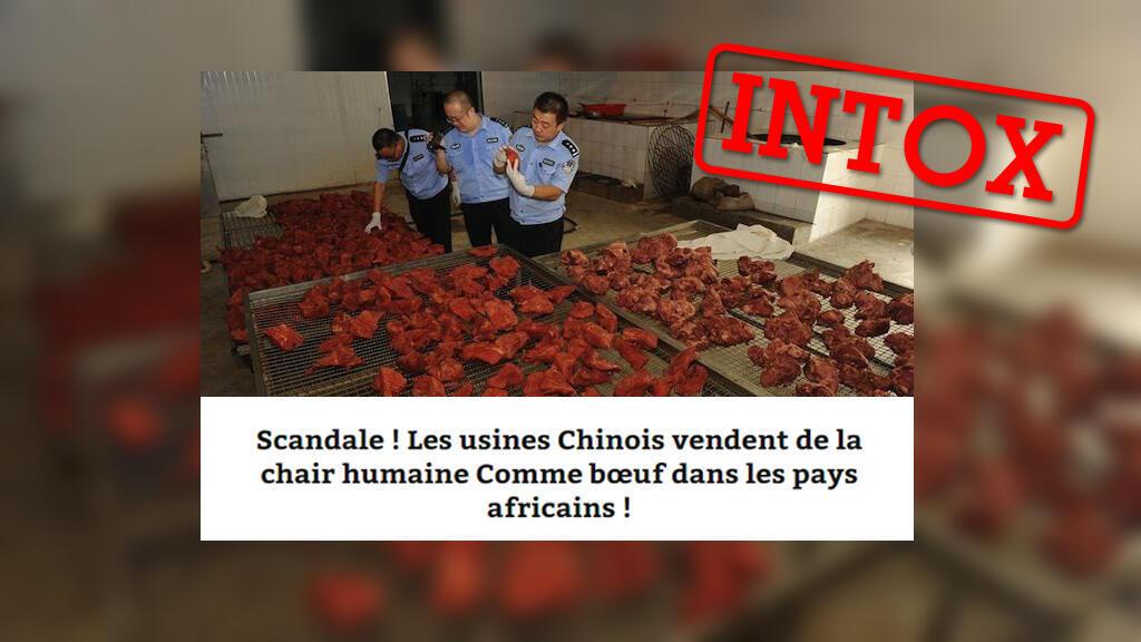 """De nombreux articles utilisent cette photo pour illustrer une présumée affaire de """"viande humaine"""" envoyée sur les marchés africains. Voici pourquoi c'est faux."""