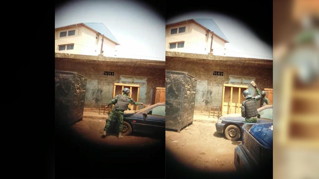 Dans la vidéo d'environ une minute, plusieurs  gendarmes donnent des coups de matraques ou lancent des pierres sur un véhicule stationné. Vidéo Billo Gandal Barry.