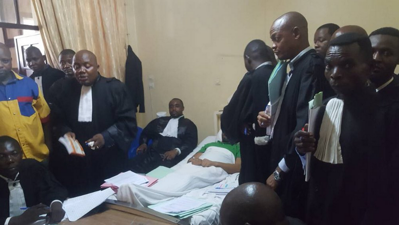 """Opposition politician """"Gécoco"""" Mulumba was put on trial in his hospital room on February 20. (Photo by his lawyer, Léon Ngombwa.)"""