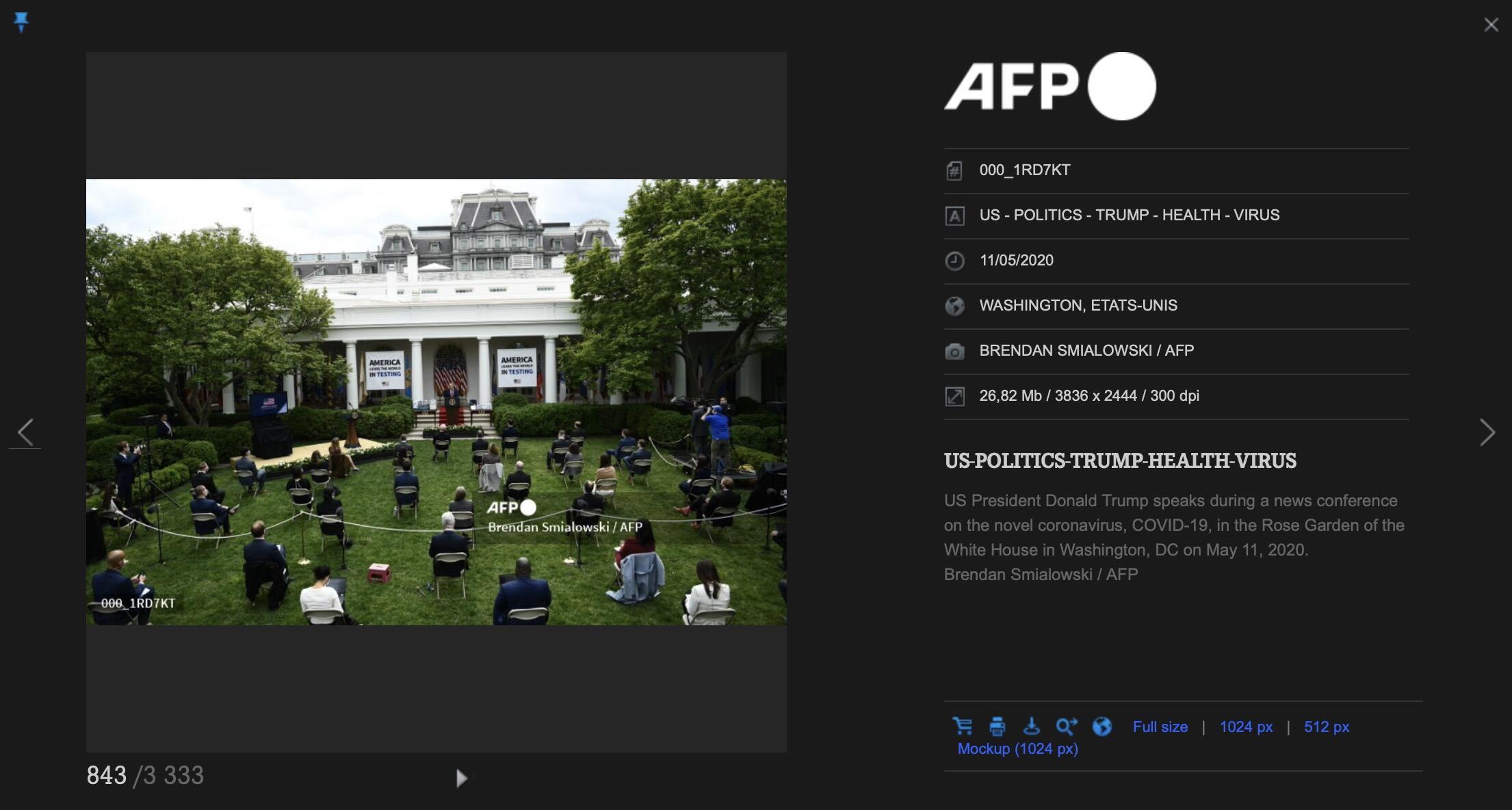 Capture d'écran de la photo visible sur la bibliothèque d'images de l'AFP, photo prise pour l'AFP par Brendan Smialowski le 11 mai 2020.