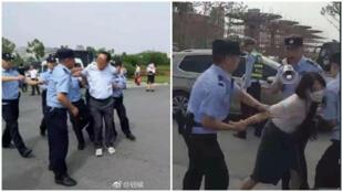 Des professeurs de Lu'an se font brutalement interpellé par la police lors d'une manifestation.