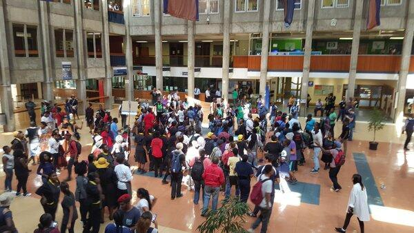 Students gather in protest at the University of the Witwatersrand on April 4, 2016 (Photo: Sne Ngxukumeshe)