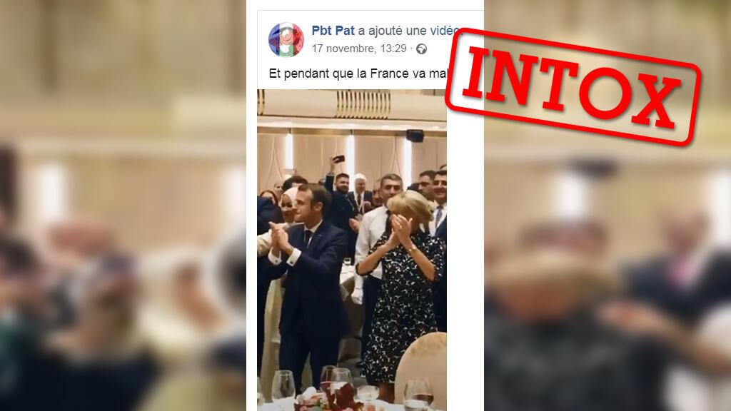 Emmanuel Macron qui esquisse des pas de danse alors que début le mouvement des Gilets Jaunes ? Non, car la vidéo est ancienne et antérieure au début du mouvement..