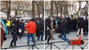 Screengrabs from the video circulating on social media showing the person pretending to be hit by the police.