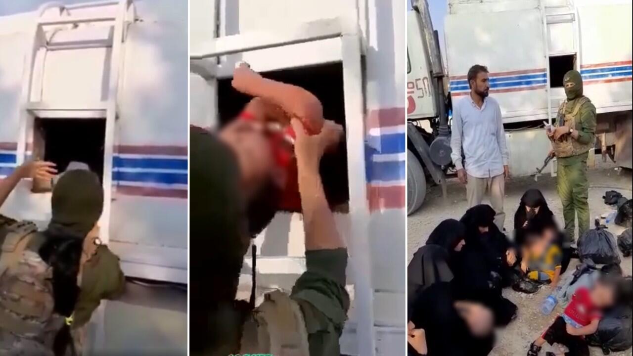 """مقاتلات كرديات يخرجن ستة أطفال واحدا تلو الآخر من صهريج شاحنة حيث كانوا بصحبة خمس نساء تابعات لتنظيم """"الدولة الإسلامية"""" حاولن الهرب من مخيم الهول. صور شاشة من مقطع فيديو."""
