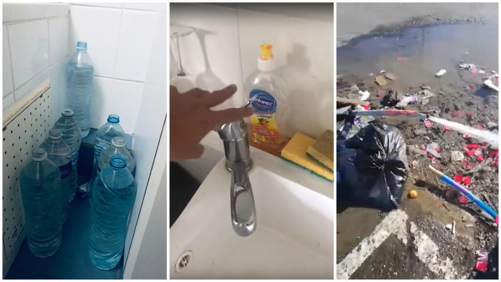"""Des réserves d'eau en cas de coupures, un robinet qui ne coule pas et une fuite d'eau sur la route en Guadeloupe. Photos envoyées aux Observateurs / capture d'écran d'une vidéo du groupe """"La Guadeloupe alerte"""" sur Facebook."""