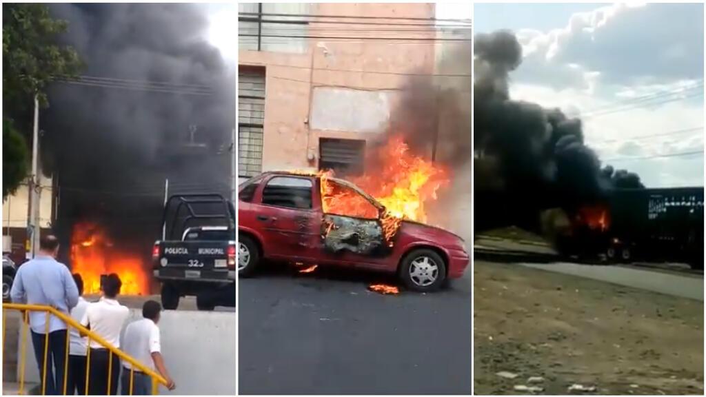 Plus d'une vingtaine de véhicules (voitures de particuliers, camions, bus, etc.) ont été incendiés à Celaya et dans ses environs, dansl'État du Guanajuato, au Mexique, samedi 20 juin. Captures d'écran de vidéos diffusées sur les réseaux sociaux.