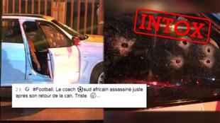 L'homme assassiné dans sa voiture et visible sur cette image n'est pas l'actuel entraîneur de l'équipe de football d'Afrique du Sud.