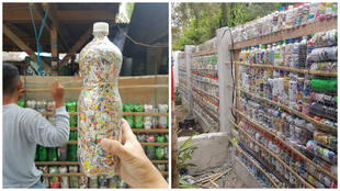 On the left, a stuffed bottle, and on the right, a wall made from eco-bricks in progress.