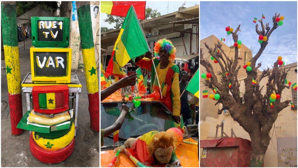 À gauche: photo prise par@D_solinvictus, à Medina, à Dakar. Au centre: photo prise par Amadou Sow, à Thiès. À droite: photo prise par@Bambandiaye01 dans le quartierHLM1, à Dakar.