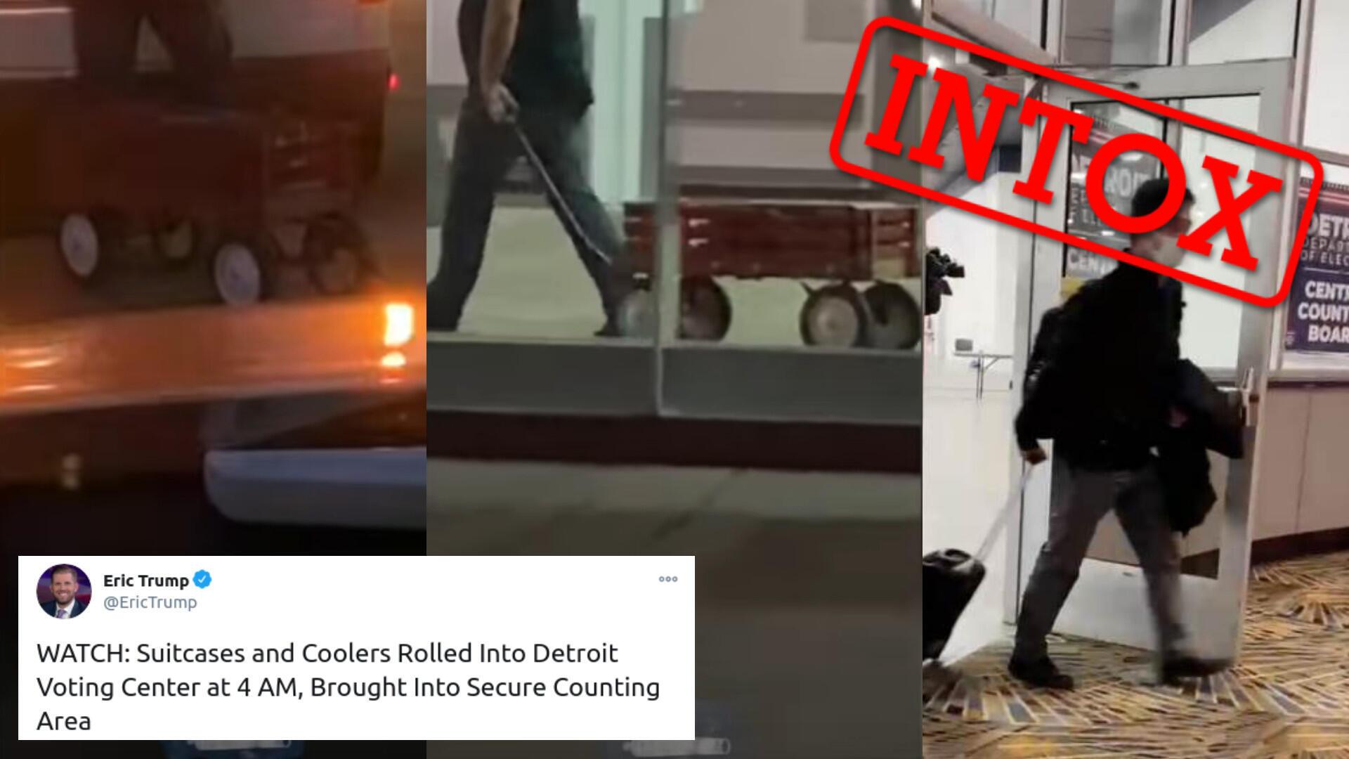 Des images capturées la nuit du 5 novembre prétendent montrer une fraude électorale au centre de congrès de Detroit, Michigan, dans lequel se fait le dépouillement des bulletins de vote à l'élection présidentielle américaine. Captures d'écran d'une vidéo.