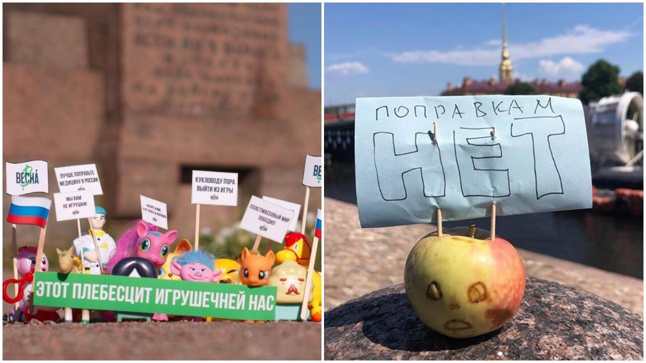 """Des jouets et des légumes disent """"non"""" au référendum sur la Constitution en Russie. Crédits photos : Sonya Ulyasheva / Vesna ; @miniprotest / Instagram."""