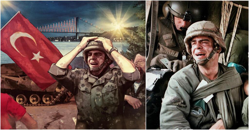 À gauche, l'affiche officielle et, à droite, la photo du soldat américain enrôlé lors de la guerre du Golfe en 1991.