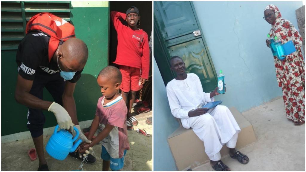 """متطوع يلقن طفلا عملية غسل اليدين (يمين)، مدرس قرآني يتلقى معدات تنظيف (يسار). صور """"100 متطوعون"""" و مامادو دياكاتا و آمات كيبي."""