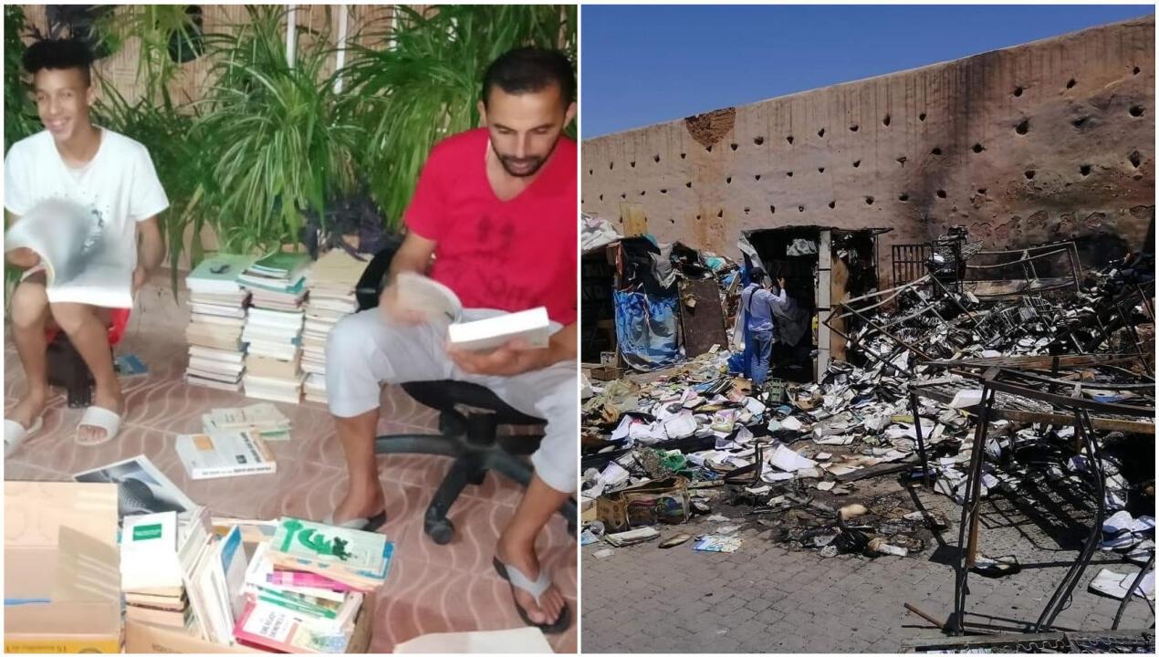 Des bénévoles collectent et trient les livres envoyés aux libraires de la Médina, victimes de l'incendie.