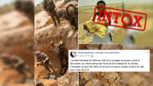 Un assemblage de photo fait croire que l'armée française est en train de voler l'or du Mali. Mais aucune de ces photos ne vient du Mali.
