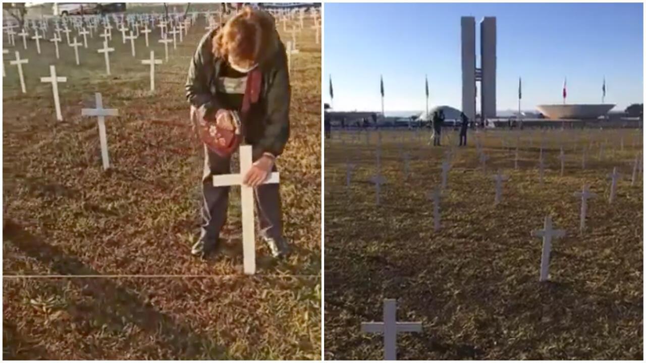 Un millier de croix plantées devant le Congrès national brésilien dimanche 28 juin. Captures d'écran vidéos / réseaux sociaux.