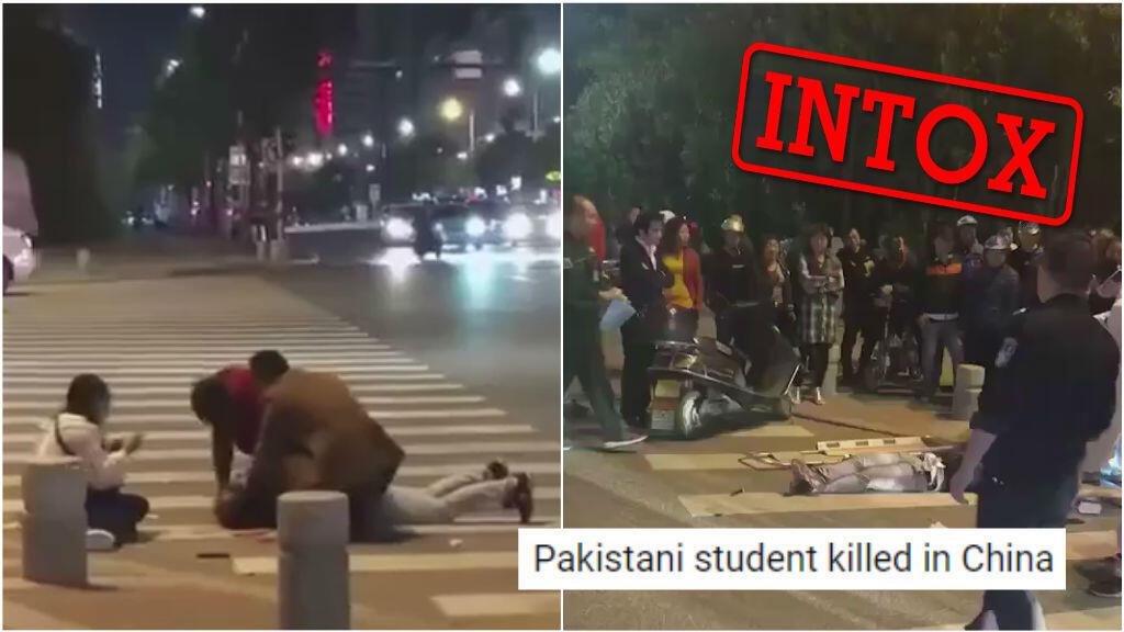 """Captures d'écran de deux vidéos devenues virales ces derniers jours, prétendant montrer l'assassinat d'un """"Noir"""" ou d'un """"Pakistanais"""" par des Chinois."""