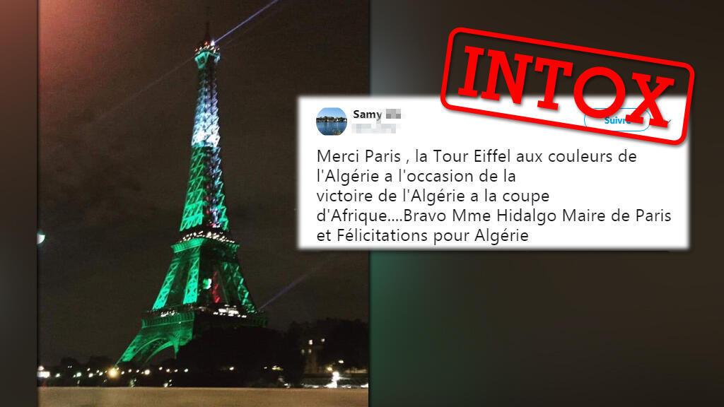 La Tour Eiffel aurait été allumée aux couleurs de l'Algérie après la victoire de l'équipe algérienne à la CAN-2019. C'est inexact.