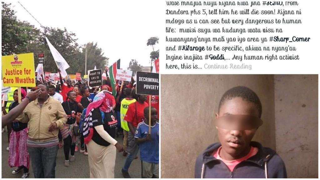 Une manifestation contre les exécutions extrajudiciaires en juillet à Nairobi, au Kenya; capture d'écran d'une publication d'un groupe Facebook que des policiers auraient utilisés pour identifier leurs cibles.