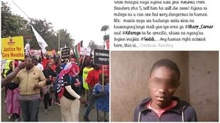 A protest against extrajudicial killings by police in Nairobi, Kenya, in July (left); screenshot from a Facebook group where police officers allegedly identified their targets. (Kayole Community Justice Centre, Dandora Community Justice Centre.)