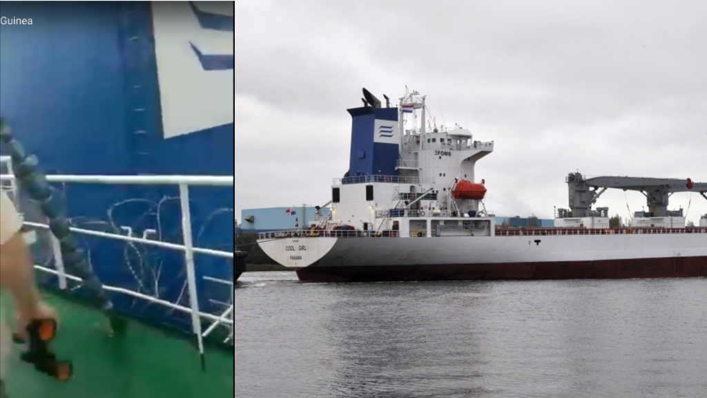 At left, a screengrab of the video showing the ship's funnel. At right, a photo of the Cool Girl taken in November 2020.