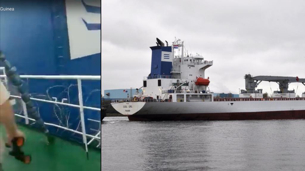 Á gauche, capture de l'écran de la vidéo montrant la cheminée du navire. Á droite, une photo du Cool Girl prise en novembre 2020.