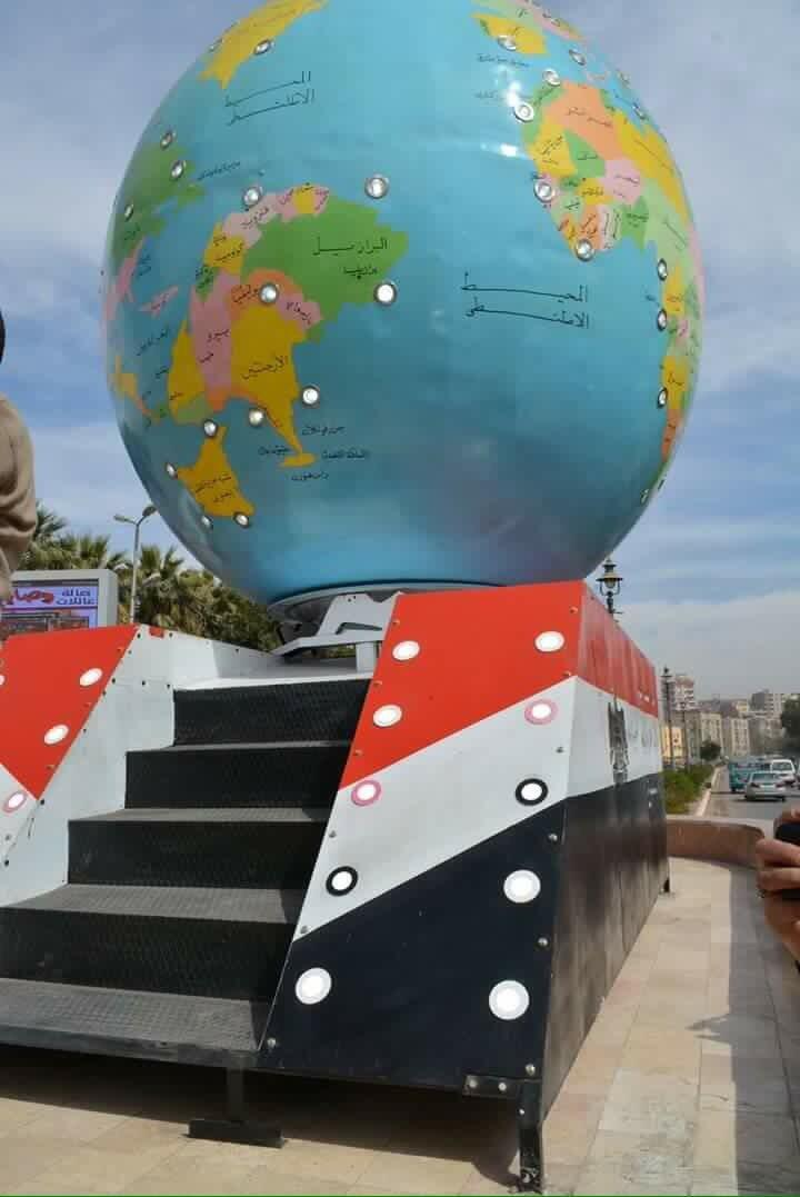 The globe put on display near a bridge in Sohag, in Egypt, is a completely inaccurate representation of the world.