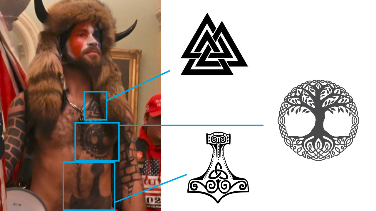 This extremist sports tattoos of various Viking symbols. While these symbols didn't originally have any connection to white supremacy, they have come to represent these beliefs, especially in extreme-right American circles.