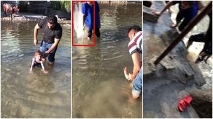 Zharo Baxtiar and his family were playing in river in Kuna Masi when a missile hit a nearby store, causing debris to rain down on them. (Screengrabs: Zharo Baxtiar/Facebook)
