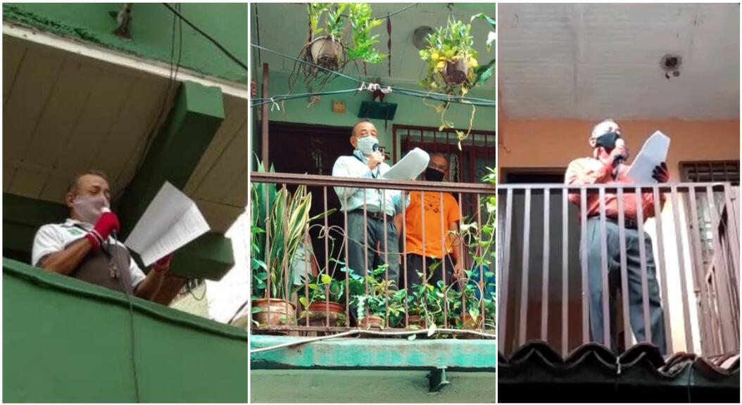 """Depuis la mi-mai, des """"journaux télévisés"""" sont réalisés par des citoyens de leurs fenêtres, dans un quartier de Caracas. Photos publiées sur le compte Twitter @LaCruzTVCaracas."""