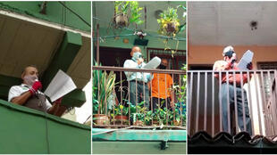Since mid-May, locals from a Caracas neighbourhood, Venezuela have been delivering their news bulletins from their balconies. (Photos posted on Twitter by @LaCruzTVCaracas.)