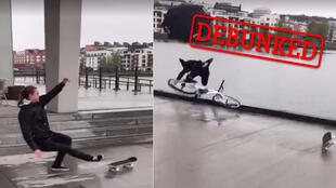 The video of a cyclist falling dramatically into a river after having had a close encounter with a runaway skateboard. Too good to be true? It probably is.