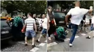 Capture d'écran de la deuxième vidéo ci-dessous, tournée à Bialystok, dans le nord-est de la Pologne, samedi 20 juillet, lors de la première Gay Pride organisée dans cette ville.