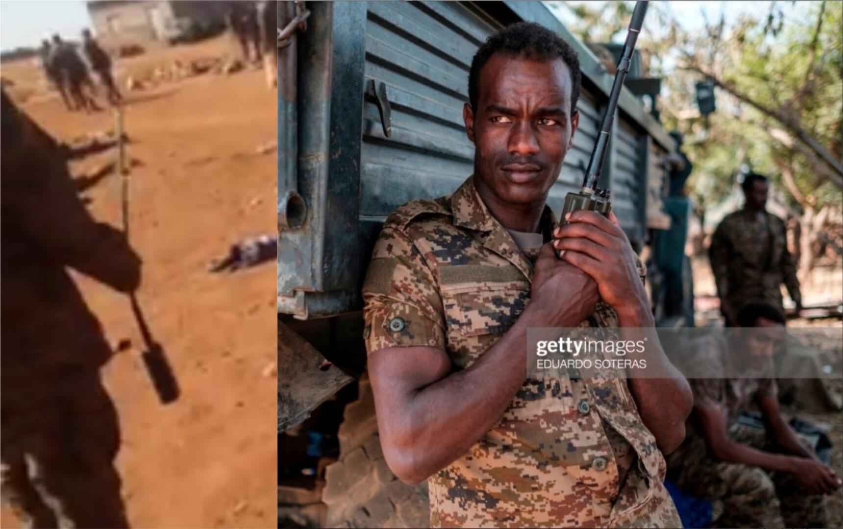À gauche, une capture d'écran de la vidéo où l'on voit un homme tenir un talkie-walkie à longue antenne et, à droite, la photo AFP d'un soldat éthiopien tenant un appareil du même type, publiée le 25 novembre 2020.