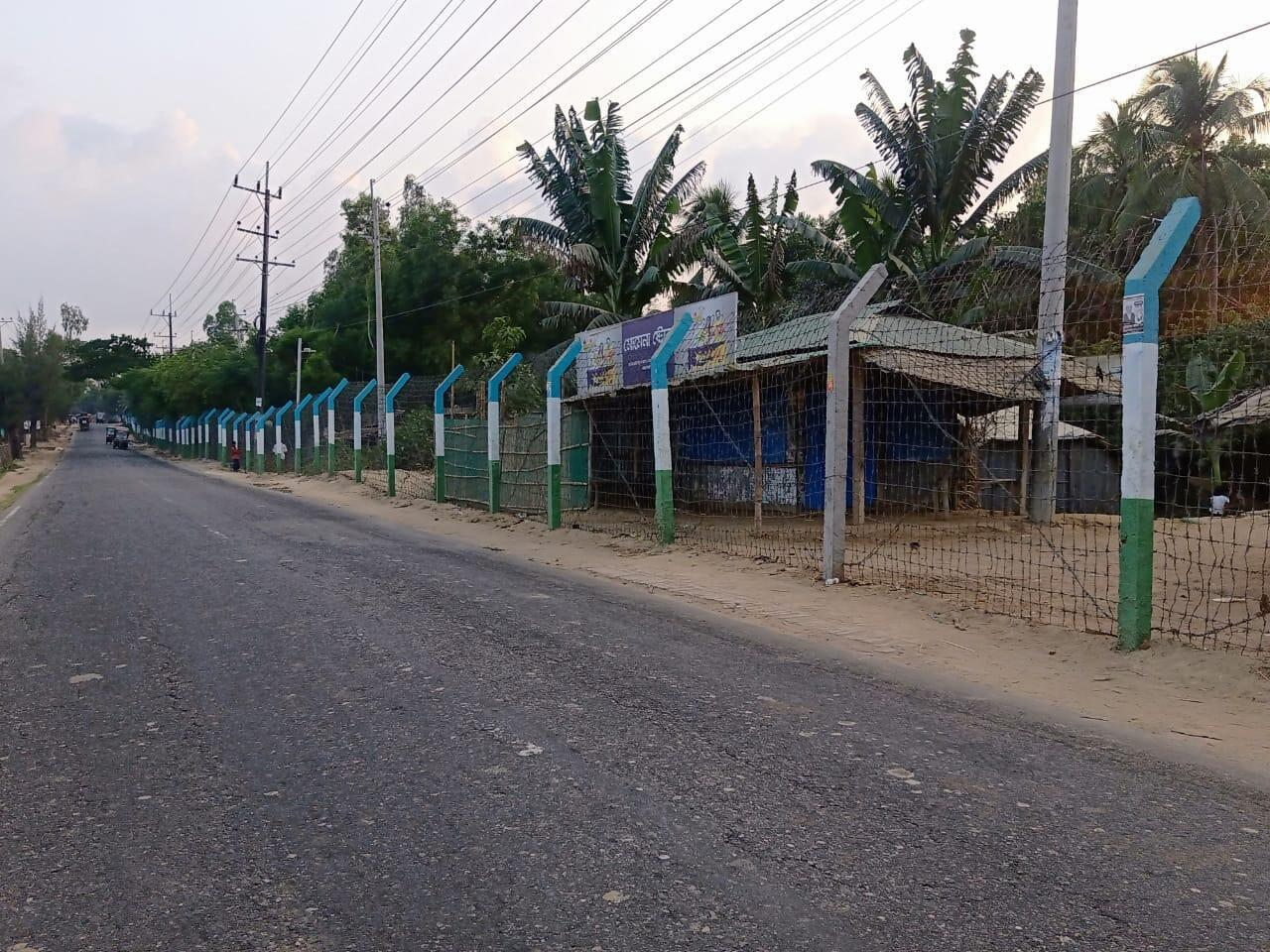Jadimura Camp 27 in Cox's Bazar, fenced with barbed wire. Photo taken April 30, 2021.