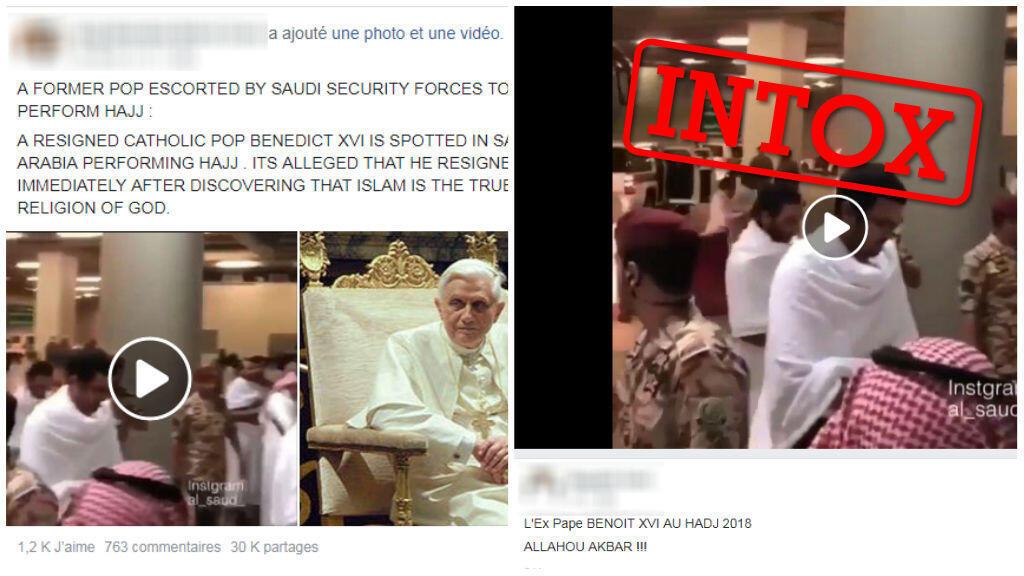 Plusieurs internautes sur Facebook ont voulu faire croire que l'ancien pape Benoît XVI s'était rendu à la Mecque pour le pèlerinage. Facebook / Captures d'écran.