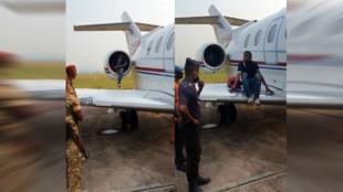 Un enfant d'une quinzaine d'années a été retrouvé dans le réacteur d'un jet  sur le tarmac de l'aéroport de Brazzaville le 30 juin. Capture d'écran vidéo Congo Morning.
