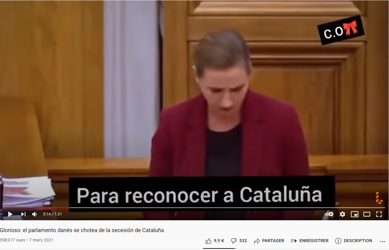"""Screenshot of a video posted on March 7, 2021 from the Danish Parliament with fake subtitles that do not match the audio. The video is titled """"Unbelievable: the Danish parliament mocks Catalonia's secession"""" and the subtitles ironically comment on the Catalonia region's demand for independence in Spain."""