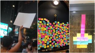 Manifestants et commerces pro-démocratie ont brandi des pancartes et post-it vidés de leurs habituels messages politiques suite à la mise en application de la nouvelle loi pour la sécurité nationale. Crédit : Twitter/Facebook