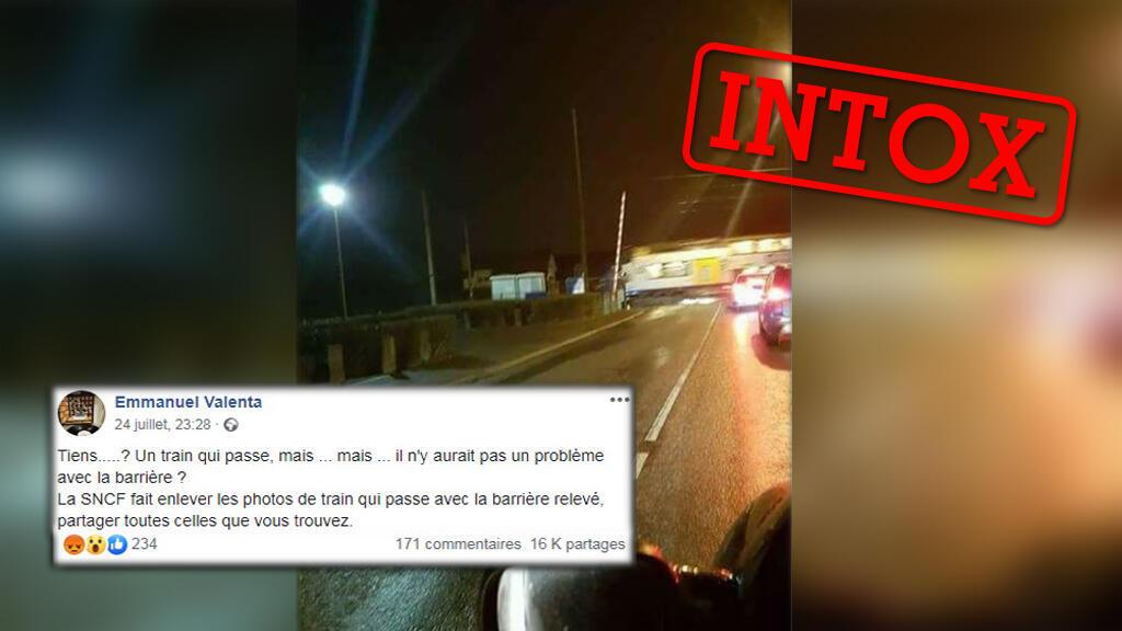 Un internaute affirme qu'une barrière ne s'est pas abaissée à l'approche d'un train en France, remettant en cause la SNCF.