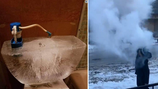 On the left, the water tank of a toilet that's frozen and shattered the ceramic around it; on the right, someone attempting the boiled water trick.