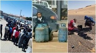 The left and centre photos show people waiting in line to buy gas canisters in Oubari. The image on the right shows volunteers trying to repair cracks in the road between Oubari and Ghat. (Photos sent by our Observers)