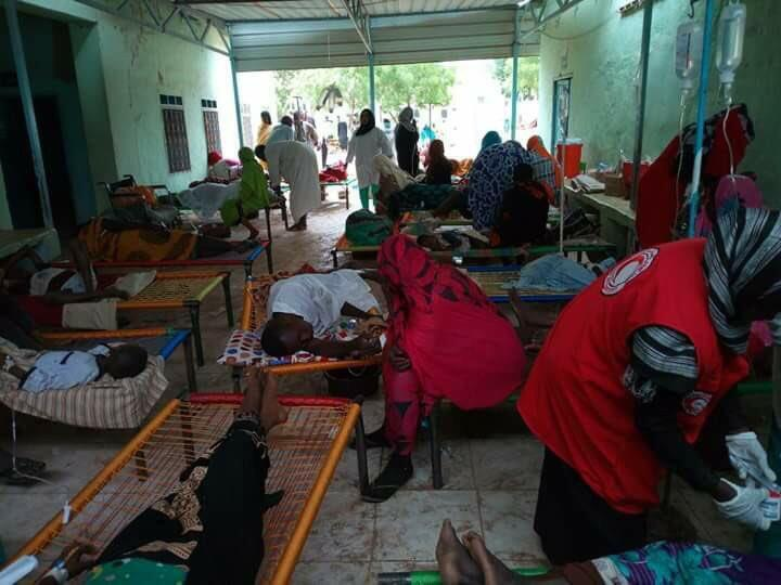 People ill with cholera get treatment in a hospital in White Nile State in Sudan (Photo: Twitter)