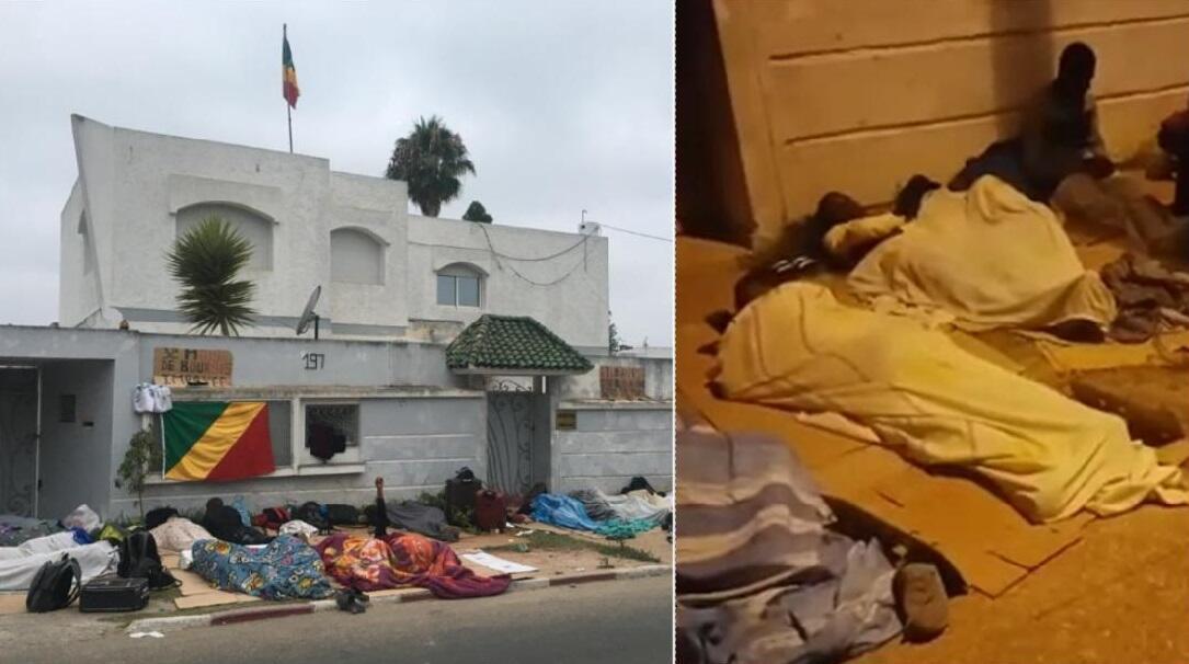 """Cela fait trois nuits d'affilée que des étudiants originaires du Congo-Brazzaville dorment devant leur ambassade, à Rabat, pour réclamer le versement de leurs bourses. Images envoyées par """"Congo Morning""""."""