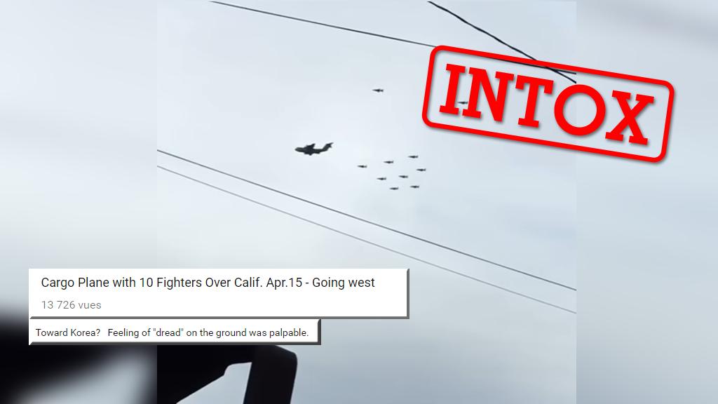 Capture d'écran de la vidéo présentée par centrains sites comme montrant des avions américains en partance vers la Corée du Nord.