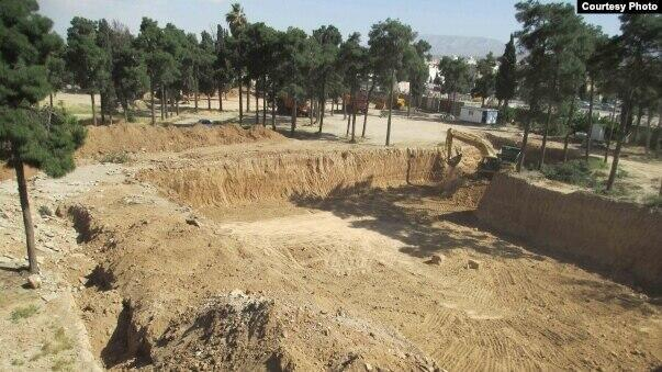 This photo shows a Baha'i cemetery that was destroyed by the Islamic State organisation in Shiraz in 2014.