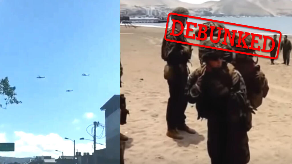 Screengrabs of two videos that claim to show the American army about to carry out a military intervention in Venezuela.