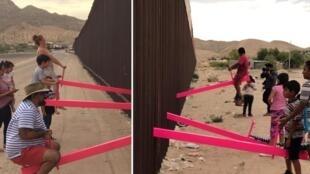 Des balançoires installées sur le mur à la frontière entre les États-Unis et le Mexique. Photos : Rael San Fratello  / Instagram.