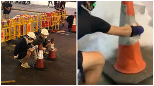 Protesters in Hong Kong have been using traffic cones to counter tear gas. (Photo on the left by Antony Dapiran; image (screengrab) on the right by Alex Hofford).